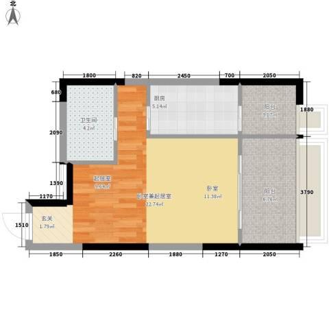 亚太商谷1卫1厨42.01㎡户型图
