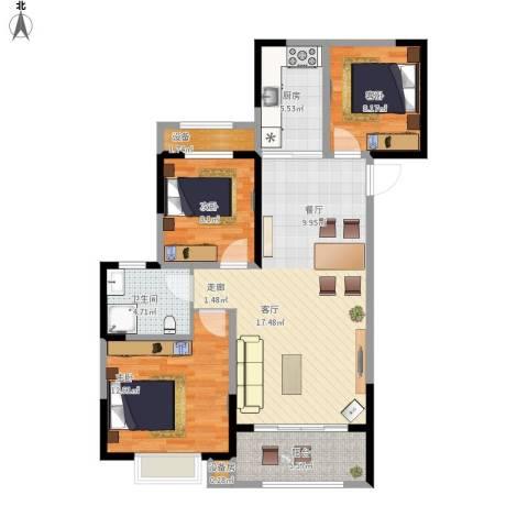 花桥裕花园3室1厅1卫1厨107.00㎡户型图