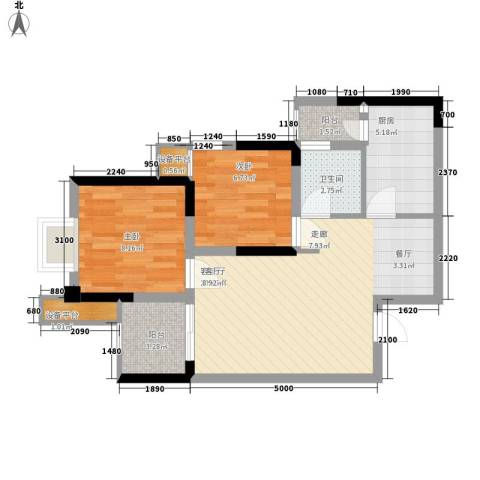 泽胜温泉城2室1厅1卫1厨73.00㎡户型图
