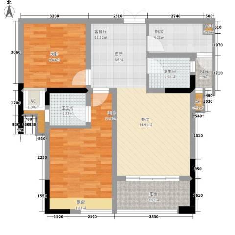 海怡天西城华府2室1厅2卫1厨83.00㎡户型图