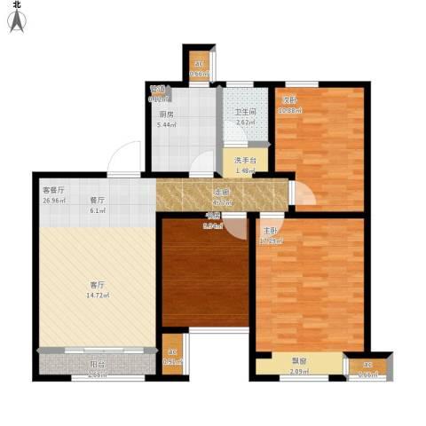 印象欧洲3室1厅1卫1厨112.00㎡户型图