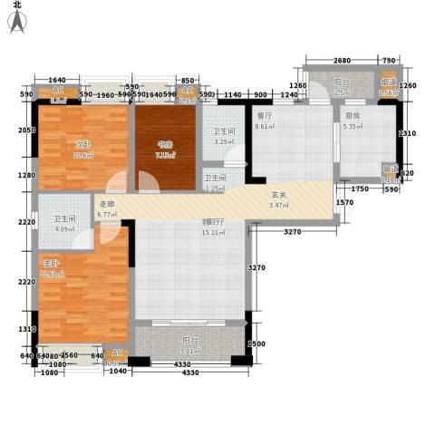 海怡天西城华府3室1厅2卫1厨113.00㎡户型图