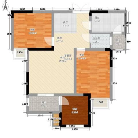 泽胜温泉城3室1厅1卫1厨101.00㎡户型图