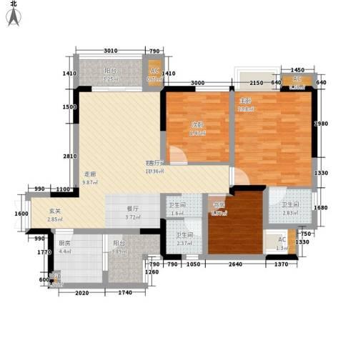 海怡天西城华府3室1厅2卫1厨100.00㎡户型图