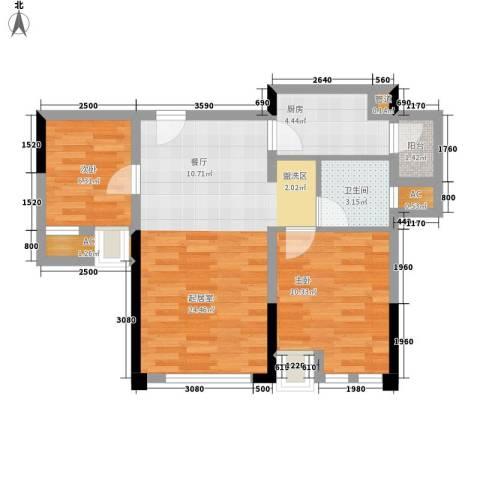 仁安龙城国际三期2室0厅1卫1厨55.00㎡户型图