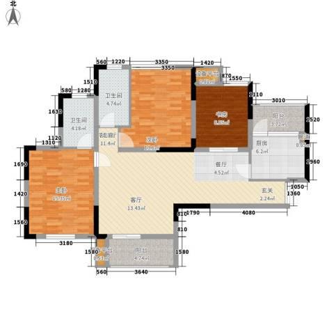 泽胜温泉城3室1厅2卫1厨135.00㎡户型图