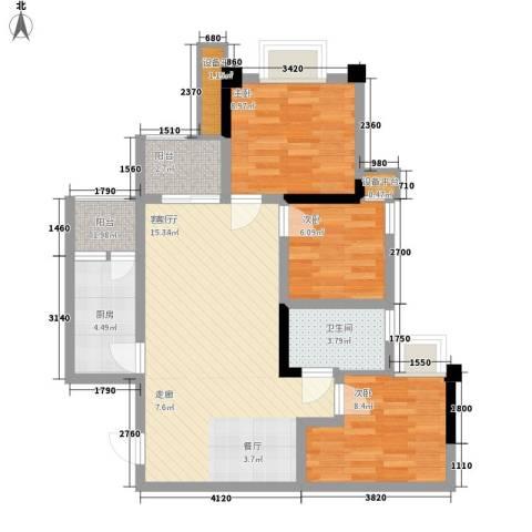 泽胜温泉城3室1厅1卫1厨95.00㎡户型图