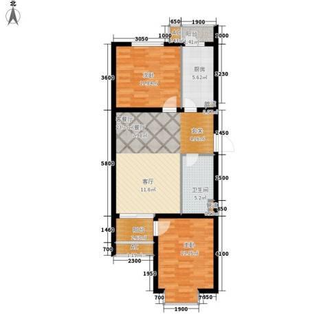 瑞雪春堂2室1厅1卫1厨91.00㎡户型图