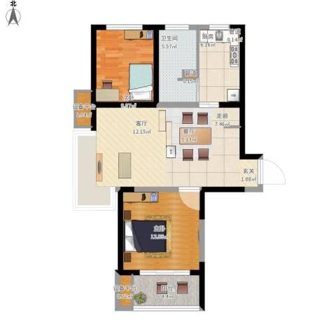 绿地新江桥城2室1厅1卫1厨96.00㎡户型图