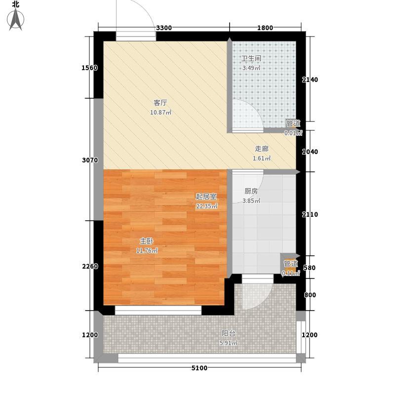 中铁人杰水岸50.00㎡高层14#30#B户型1室1厅