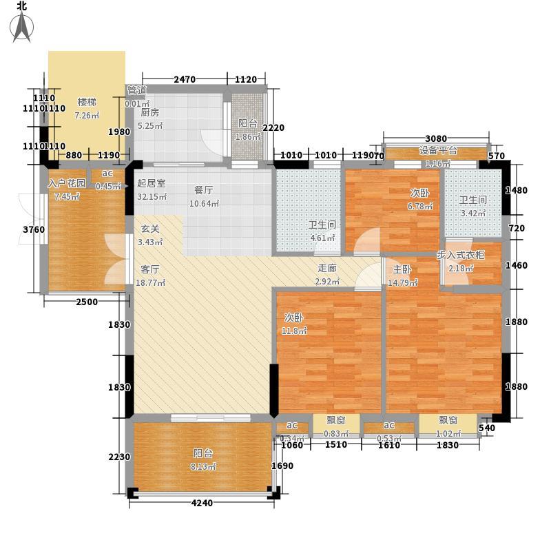 森林溪畔134.15㎡A4栋123单元标准层1号房3室户型
