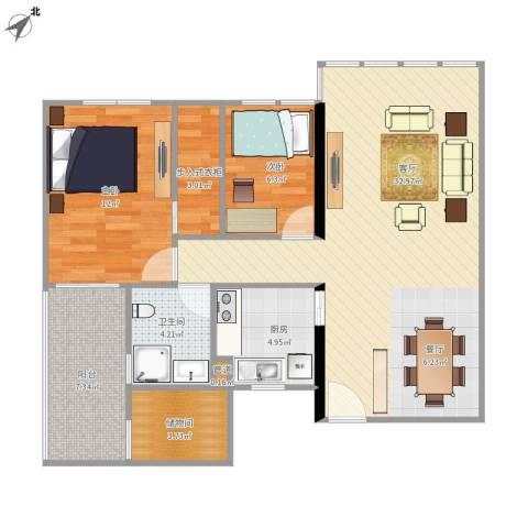 华敏大厦2室1厅1卫1厨102.00㎡户型图