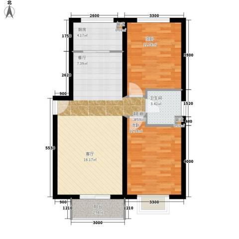 卓达星辰花园2室1厅1卫1厨91.00㎡户型图