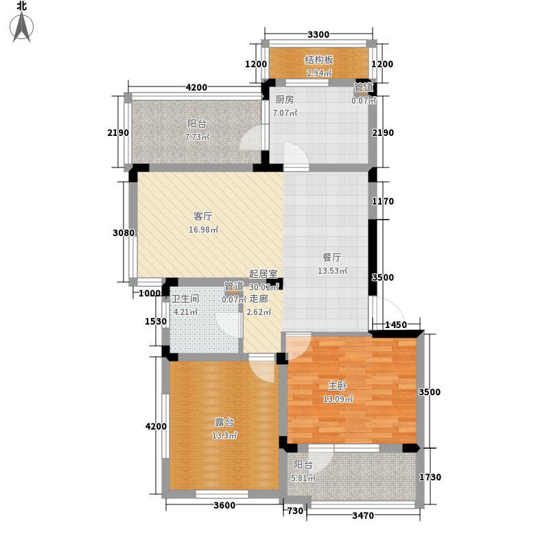 中铁人杰水岸76.00㎡类洋房B顶层户型1室2厅