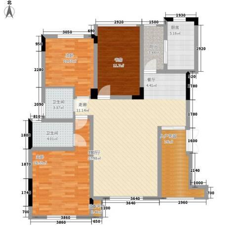 泽胜温泉城3室1厅2卫1厨138.00㎡户型图