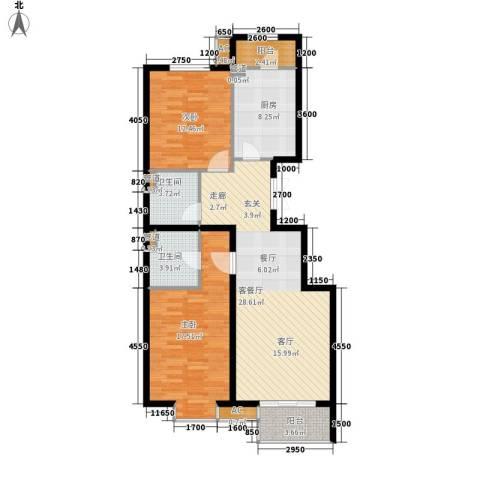瑞雪春堂2室1厅2卫1厨109.00㎡户型图