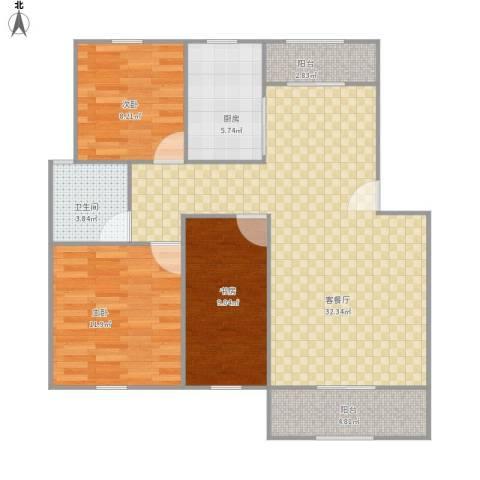 虎阜花园3室1厅1卫1厨105.00㎡户型图