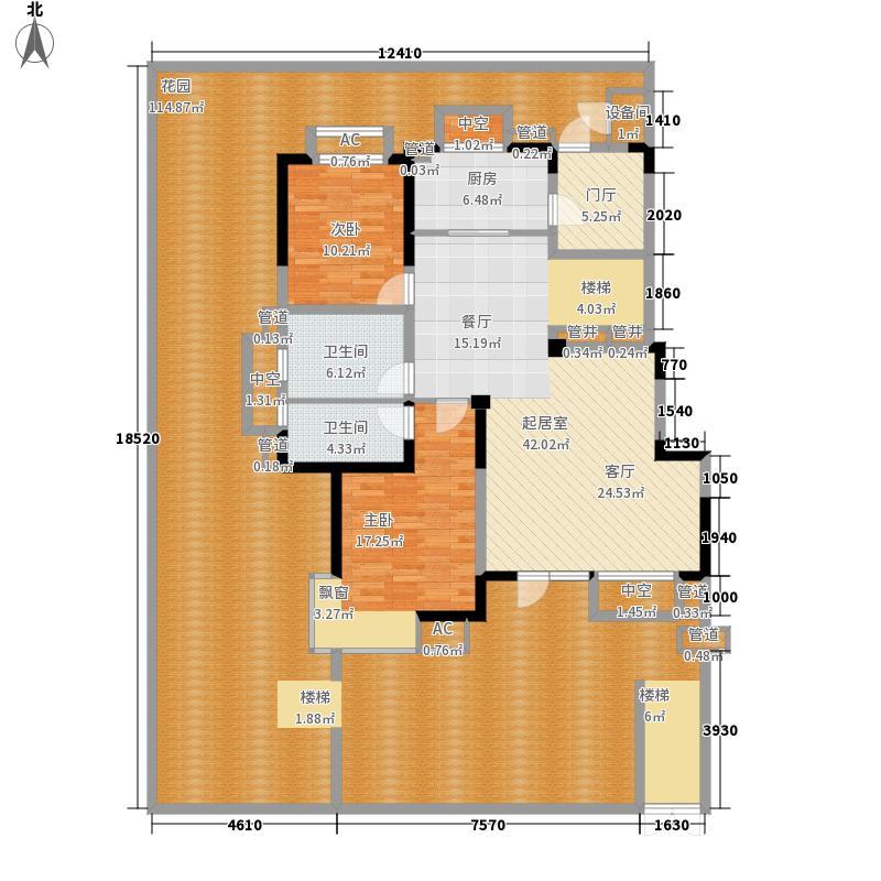 中铁人杰水岸125.00㎡小高C一层户型2室3厅