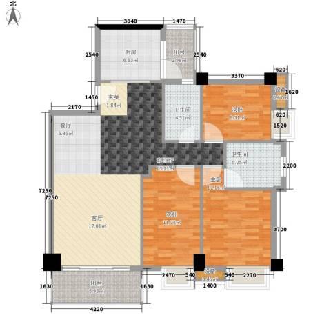尚领时代3室1厅2卫1厨108.00㎡户型图