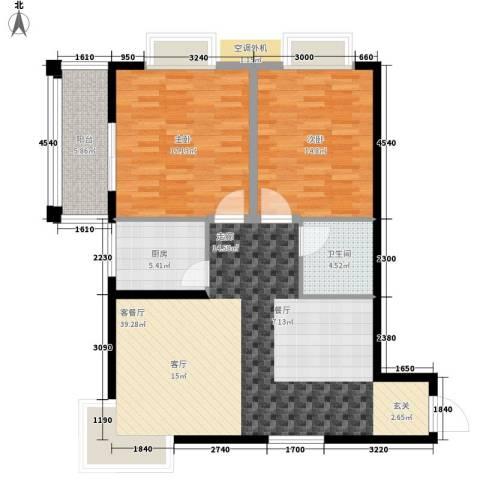 黄金嘉园2室1厅1卫1厨97.00㎡户型图