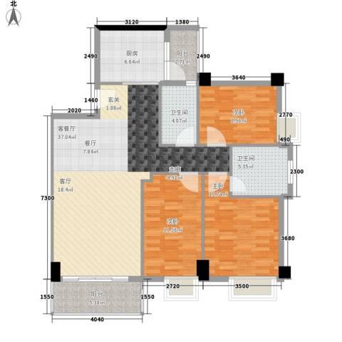 尚领时代3室1厅2卫1厨105.00㎡户型图