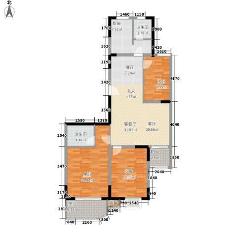 金陵世纪花园3室1厅2卫1厨139.00㎡户型图