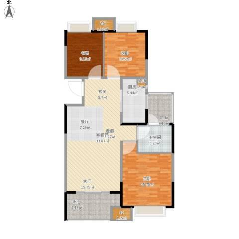 无锡万达文化旅游城3室1厅1卫1厨130.00㎡户型图