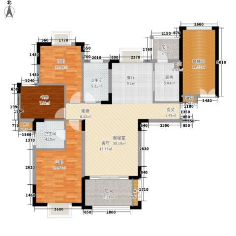 金色地中海3室0厅2卫1厨120.00㎡户型图