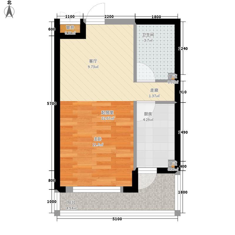 中铁人杰水岸53.00㎡高层29#B户型1室1厅