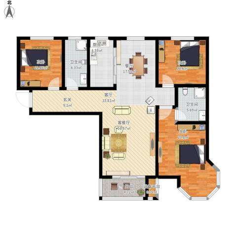 御江景城3室1厅2卫1厨171.00㎡户型图