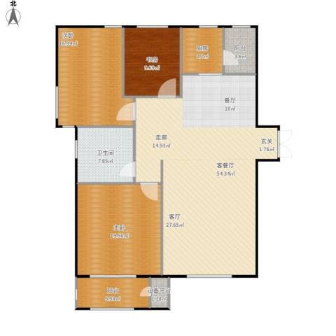华中国宅华园3室1厅1卫1厨164.00㎡户型图