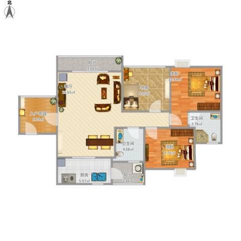 鼎湖森邻3室1厅2卫1厨111.00㎡户型图