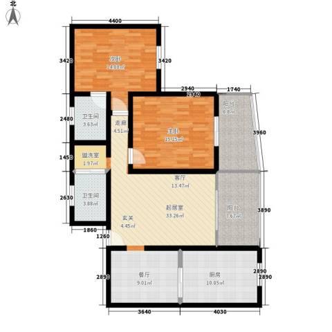 航天新都2室0厅2卫1厨136.00㎡户型图