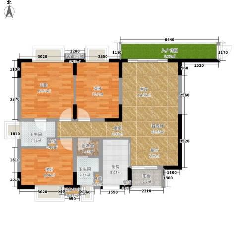兴豪门3室1厅2卫1厨119.00㎡户型图