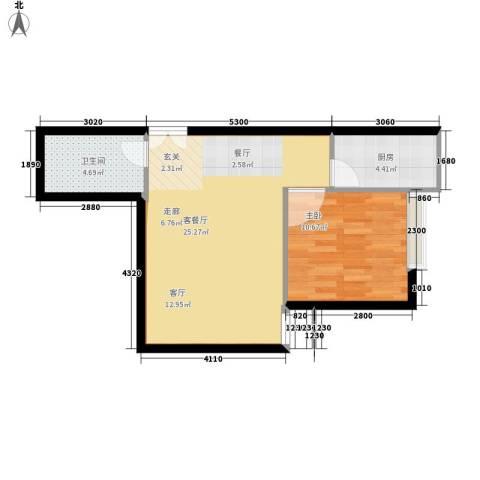 高新枫尚1室1厅1卫1厨52.00㎡户型图