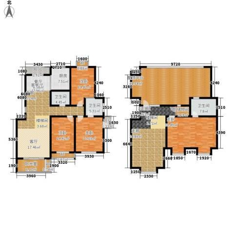 东方城4室1厅3卫1厨251.95㎡户型图