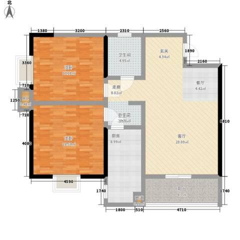 贝特智能佳园2室1厅1卫1厨111.00㎡户型图