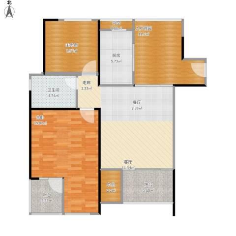 万科金色家园1室1厅1卫1厨114.00㎡户型图