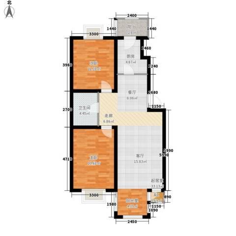 第六大道第博雅园2室0厅1卫1厨90.00㎡户型图
