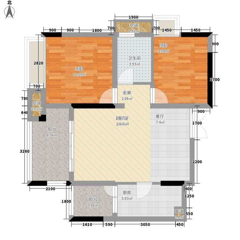 强辉金色池塘66.55㎡三期7号楼1面积6655m户型