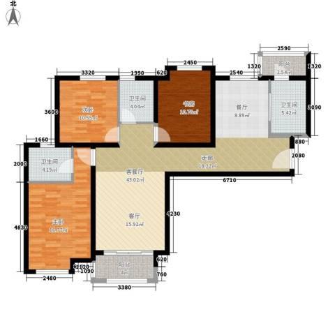 长江丰泽园3室1厅3卫0厨127.00㎡户型图