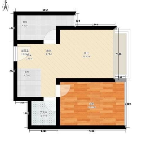 龙天名俊1室0厅1卫1厨49.00㎡户型图