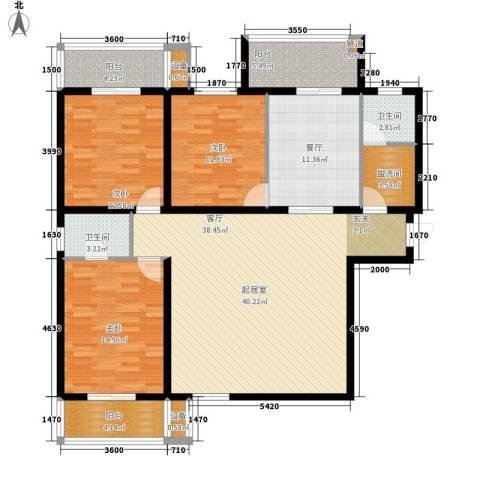 金裕青青家园3室1厅2卫0厨148.00㎡户型图