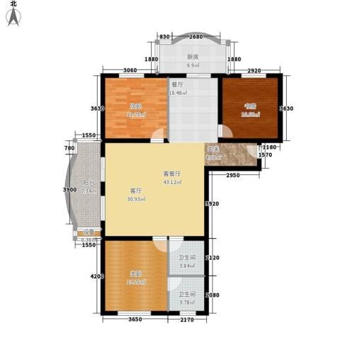 金裕青青家园3室1厅2卫1厨129.00㎡户型图