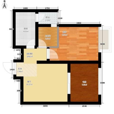 龙天名俊2室0厅1卫1厨53.00㎡户型图