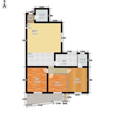 金裕青青家园3室1厅2卫1厨135.00㎡户型图