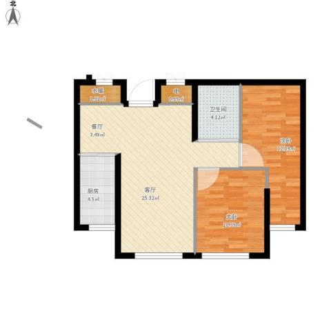 康馨壹品2室1厅1卫1厨83.00㎡户型图