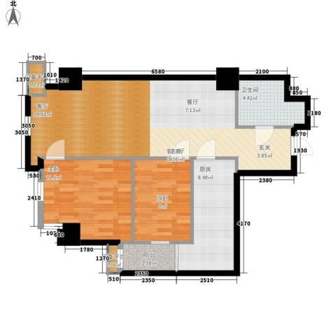 幸福逸家2室1厅1卫1厨82.00㎡户型图