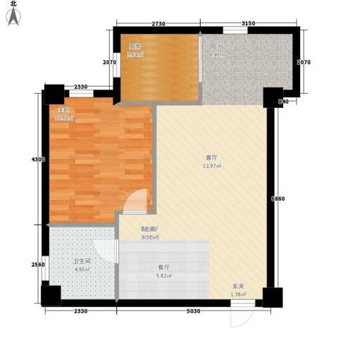 幸福逸家1室1厅1卫1厨63.00㎡户型图