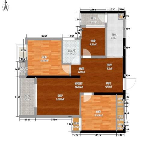 东城国际3室1厅1卫1厨105.00㎡户型图